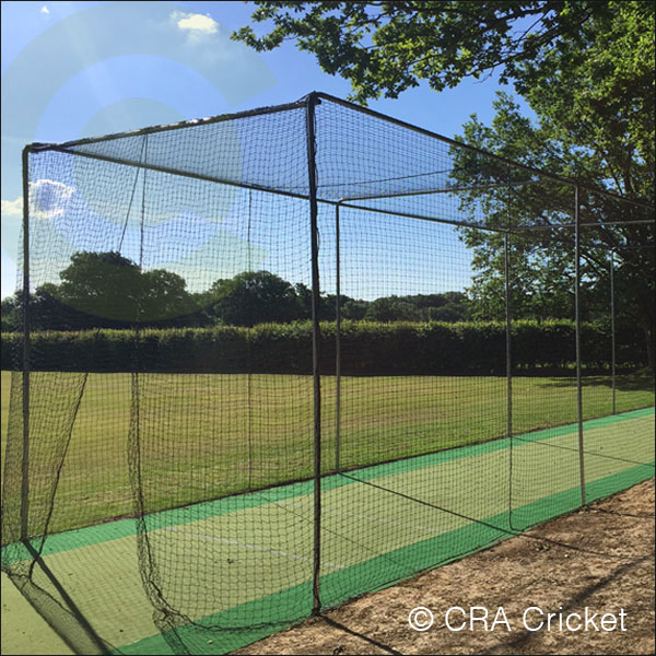 In ground steel cricket net cage